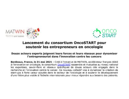 CP : Lancement du consortium OncoSTART pour soutenir les entrepreneurs en oncologie