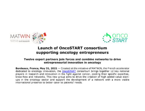 PR : Launch of OncoSTART consortium supporting oncology entrepreneurs